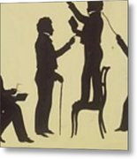 Cut Silhouette Of Four Full Figures 1830 Metal Print