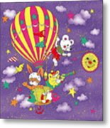 Cute Animals In Air Balloon Metal Print