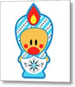 Cute Art - Blue And White Folk Art Sweet Angel Bird Nesting Doll Wall Art Print Metal Print