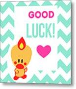Cute Art - Sweet Angel Bird Light Teal Good Luck Chevron Wall Art Print Metal Print