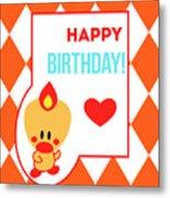 Cute Art - Sweet Angel Bird Terra Cotta Happy Birthday Circus Diamond Pattern Wall Art Print Metal Print