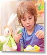 Cute Boy Enjoy Easter Holiday Metal Print