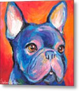 Cute French Bulldog Painting Prints Metal Print