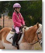 Cute Girl On Horse 2 Metal Print