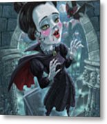 Cute Gothic Horror Vampire Woman Metal Print