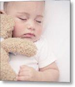 Cute Little Baby Sleeping Metal Print