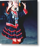 Cute Little Thai Girl Dancing Metal Print