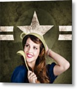 Cute Military Pin-up Woman On Army Star Background Metal Print by Jorgo Photography - Wall Art Gallery