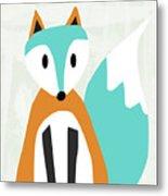 Cute Orange And Blue Fox- Art By Linda Woods Metal Print