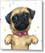 Cute Pug Puppy Metal Print