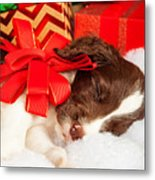 Cute Puppy With Red Bow Sleeping By Gifts Metal Print