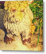 Cute Weathered White Garden Ornament Of A Dog Metal Print