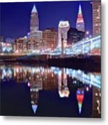Cuyahoga Reflecting The City Above Metal Print