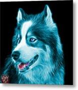 Cyan Modern Siberian Husky Dog Art - 6024 - Bb Metal Print