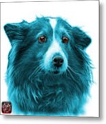 Cyan Shetland Sheepdog Dog Art 9973 - Wb Metal Print