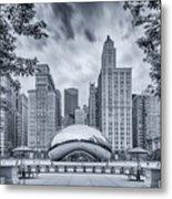Cyanotype Anish Kapoor Cloud Gate The Bean At Millenium Park - Chicago Illinois Metal Print