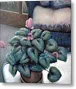 Cyclamen And Wicker Metal Print