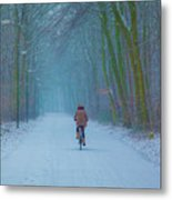 Cycling In The Snow Metal Print