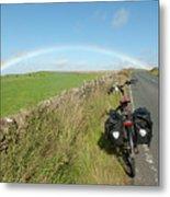 Cycling To The Rainbow Metal Print