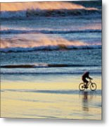 Cyclist Pedals Against The Wind At Pismo Beach Metal Print