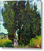 Cypresses With Two Figures, By Vincent Van Gogh, 1889-1890, Krol Metal Print