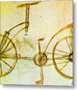 Da Vinci Inventions First Bicycle Sketch By Da Vinci Metal Print