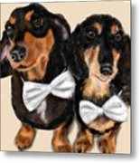 Dachshunds And Bowties Metal Print