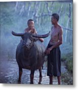 Dad And Child Happy To Live In The Countryside,thailand, Vietnam Metal Print