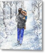 Dad And Child In The Winter Snow Metal Print