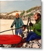 Dad And Denny In A Winter Field Metal Print