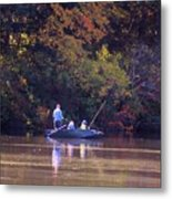 Dad And Sons Fishing Metal Print