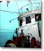 Dad In The Superior's Wheelhouse Metal Print