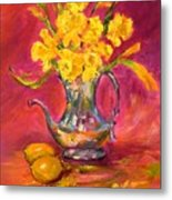 Daffodils And Teapot Metal Print