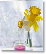 Daffodils And The Candle Metal Print