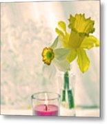 Daffodils And The Candle V3 Metal Print