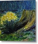 Daffodils And Tree Stump Metal Print