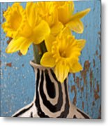 Daffodils In Wide Striped Vase Metal Print