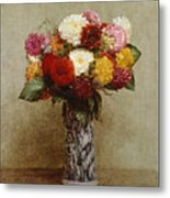 Dahlias In A Chinese Vase Metal Print