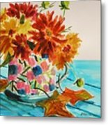 Dahlias In A Painted Cup Metal Print