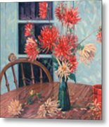 Dahlias With Red Cup Metal Print