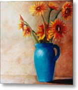 Daisies And Blue Metal Print