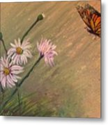 Daisies And Butterfly Metal Print