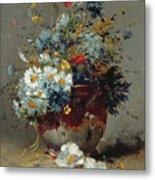 Daisies And Cornflowers Metal Print