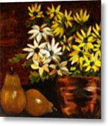 Daisies And Pears Metal Print