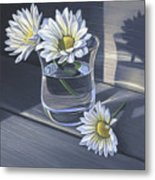Daisies In Drinking Glass No. 2 Metal Print