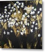 Daisies In Gold Abstraction Metal Print