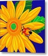 Daisy And Shieldbug Metal Print