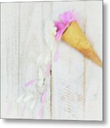 Daisy Ice Cream Cone Metal Print