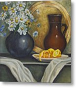 Daisy Stillife With Oranges Metal Print by Ann Arensmeyer