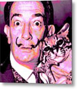 Dali With Ocelot And Cane Metal Print